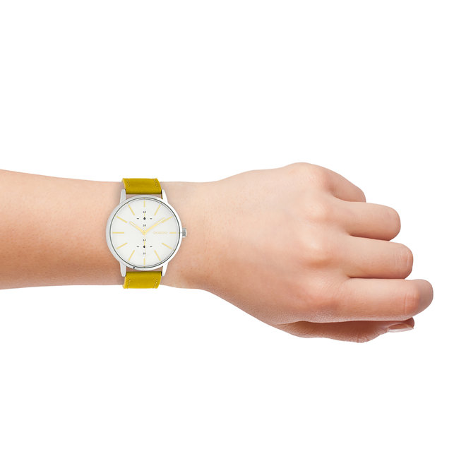 OOZOO Timepieces - unisex - leather strap mustard with silver watch case