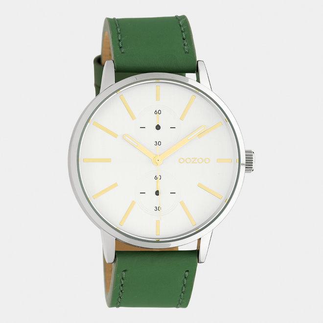 OOZOO Timepieces - unisex - leren band waterlelie groen / zilver