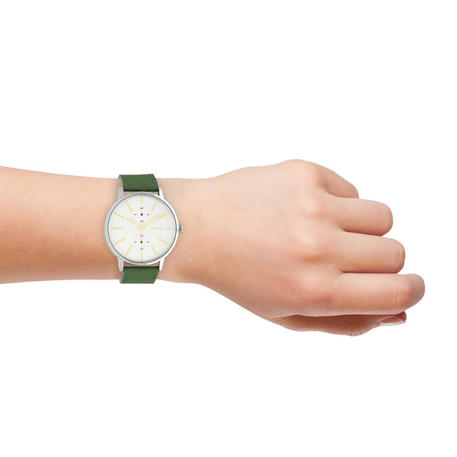 OOZOO Timepieces - unisex - leren band waterlelie groen met zilver horlogekast
