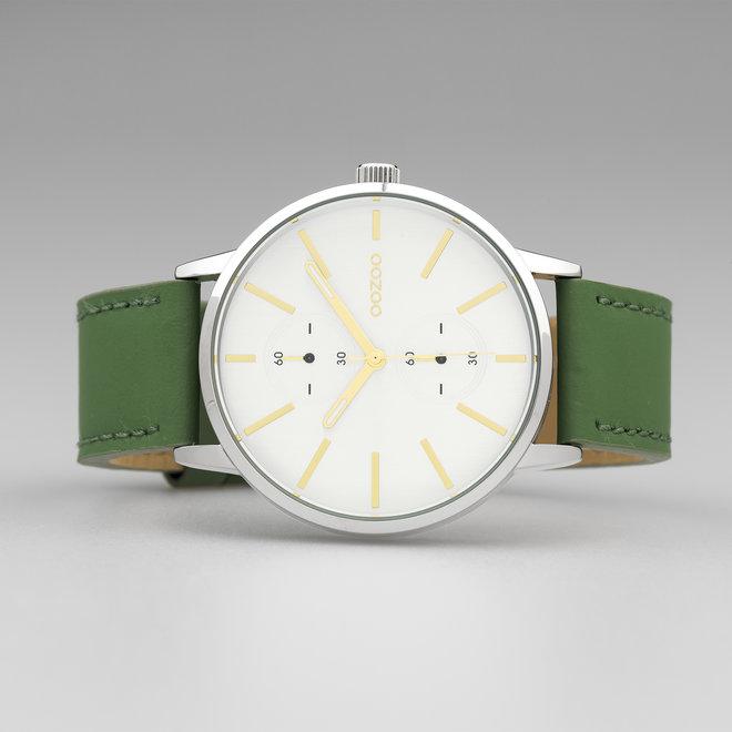 OOZOO Timepieces - unisexe - bracelet en cuir vert nénuphar met argent horlogekast