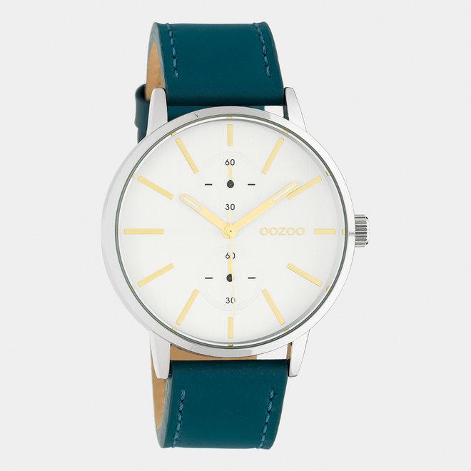 OOZOO Timepieces - unisexe - bracelet en cuir viridian vert / argent