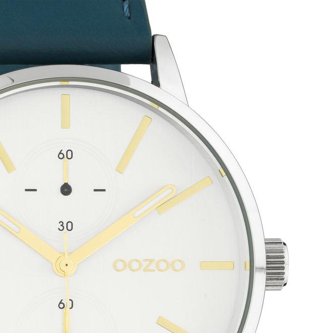 OOZOO Timepieces - unisexe - bracelet en cuir viridian vert met argent horlogekast