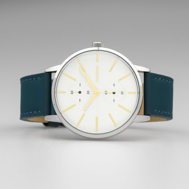 OOZOO Timepieces - unisex - leren band viridian groen met zilver horlogekast