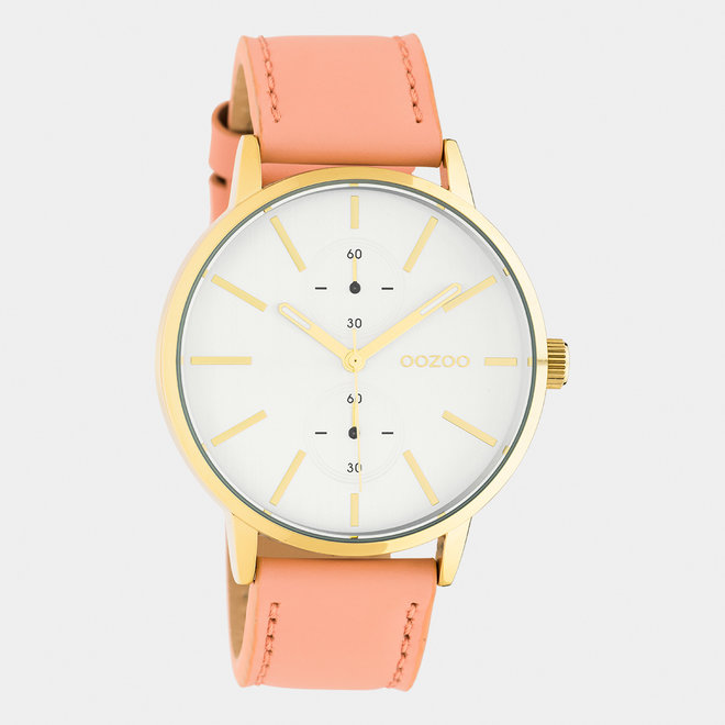 OOZOO Timepieces - unisex - leren band poederroze / goud