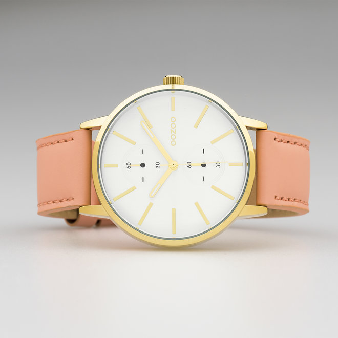 OOZOO Timepieces - unisex - leather strap powder pink with gold watch case