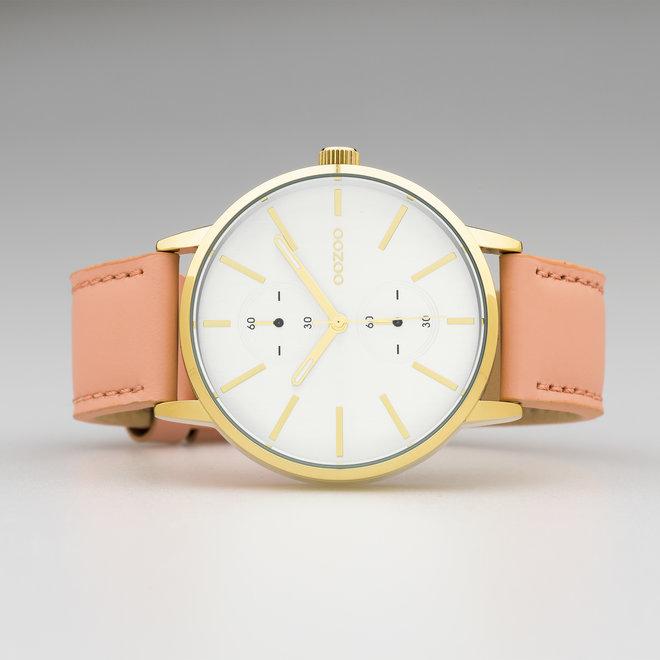OOZOO Timepieces - unisexe - bracelet en cuir rose poudré met or horlogekast