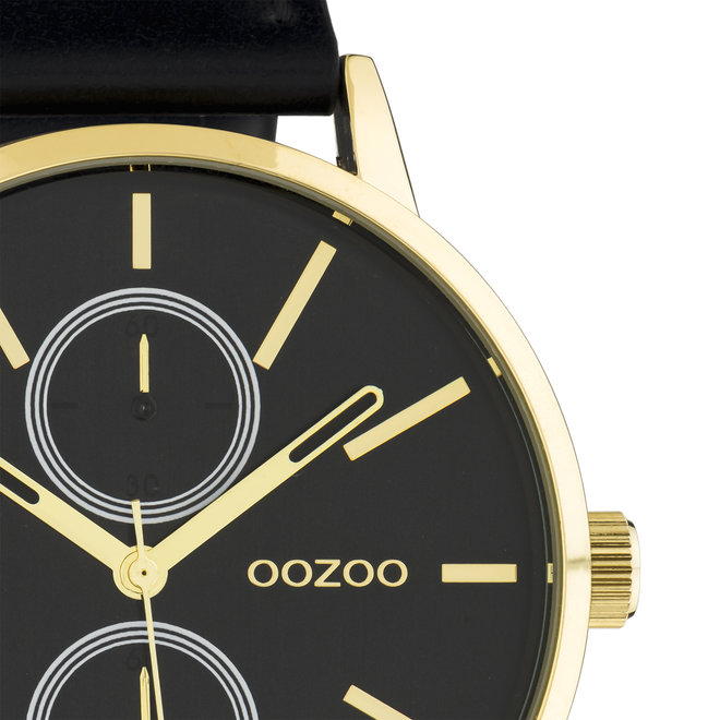 OOZOO Timepieces - unisex - leren band zwart met goud horlogekast