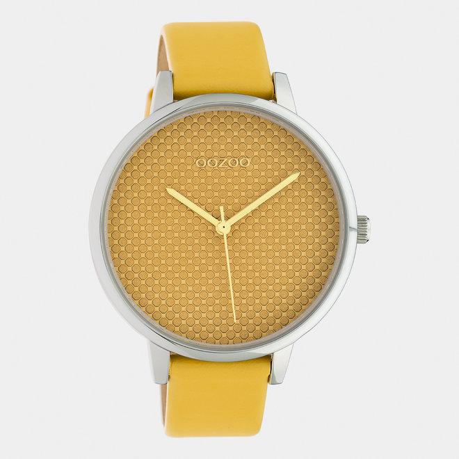 OOZOO Timepieces - dames - leren band mosterd / zilver