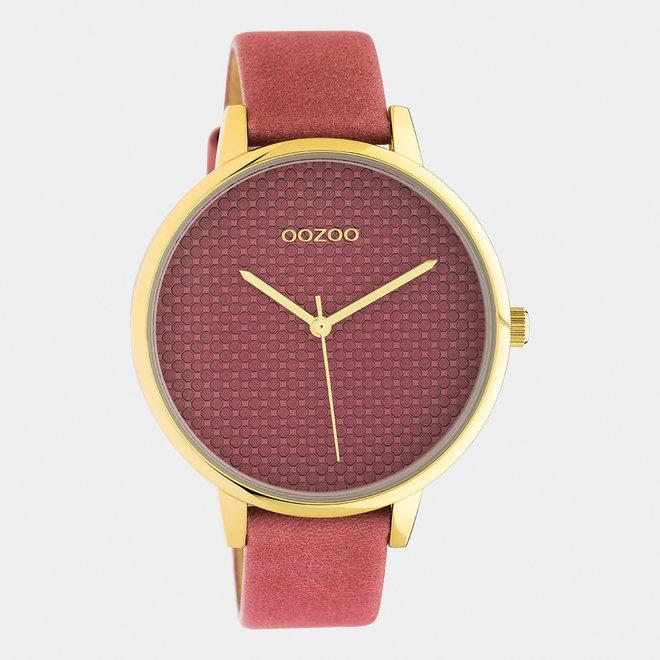 OOZOO Timepieces - dames - leren band oud roze / goud