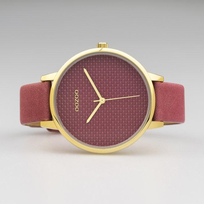 OOZOO Timepieces - femmes - bracelet en cuir vieux rose met or horlogekast