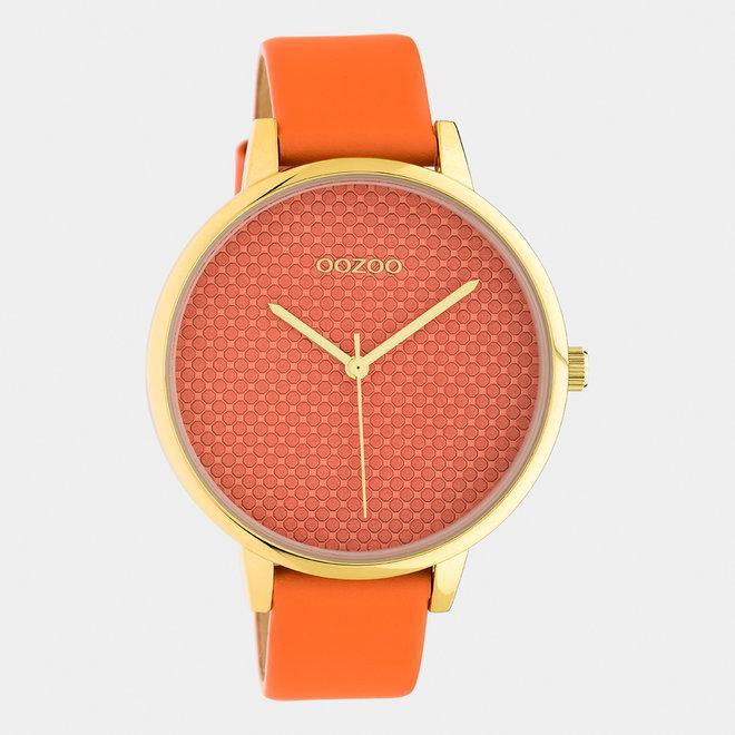 OOZOO Timepieces - dames - leren band dusty oranje / goud