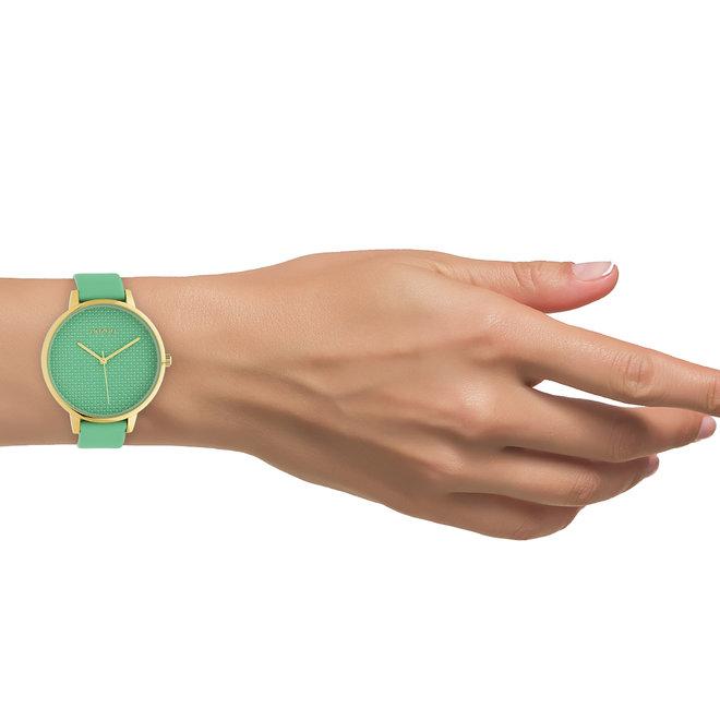 OOZOO Timepieces - dames - leren band biscay groen met goud horlogekast