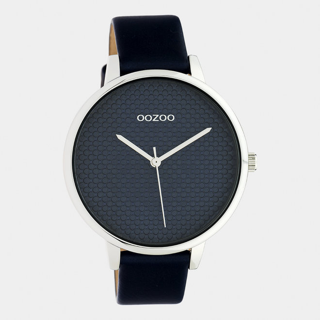 OOZOO Timepieces - ladies - leather strap blue/ silver