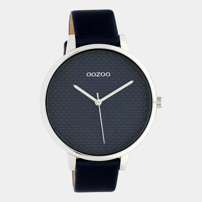 OOZOO Timepieces - dames - leren band blauw met zilver horlogekast