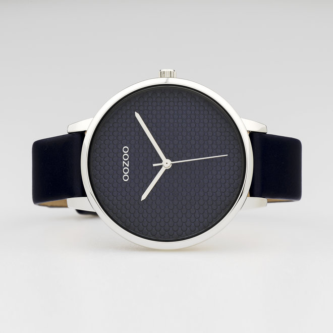 OOZOO Timepieces - ladies - leather strap blue with silver watch case