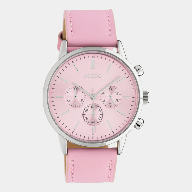 OOZOO Timepieces - unisex - leather strap soft pink / silver