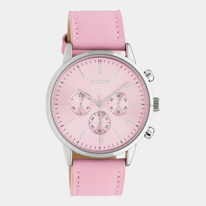 OOZOO Timepieces - unisexe - bracelet en cuir rose tendre / argent