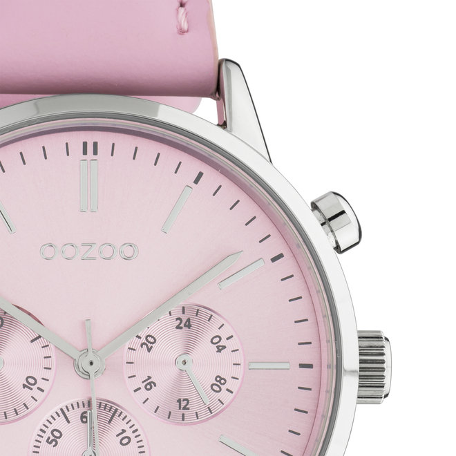 OOZOO Timepieces - unisex - leather strap soft pink with silver watch case