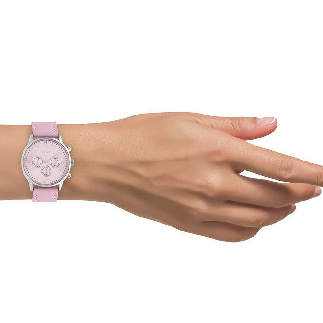 OOZOO Timepieces - unisex - leren band zacht roze met zilver horlogekast