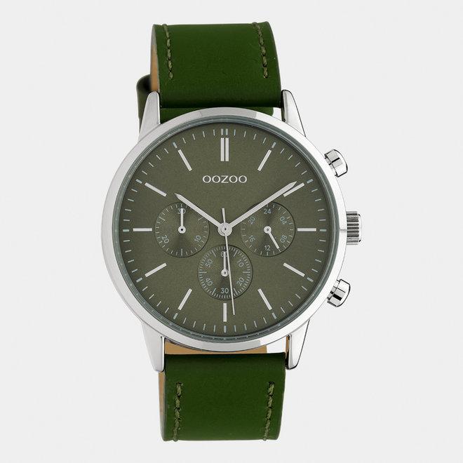 OOZOO Timepieces - unisexe - bracelet en cuir vert olive / argent