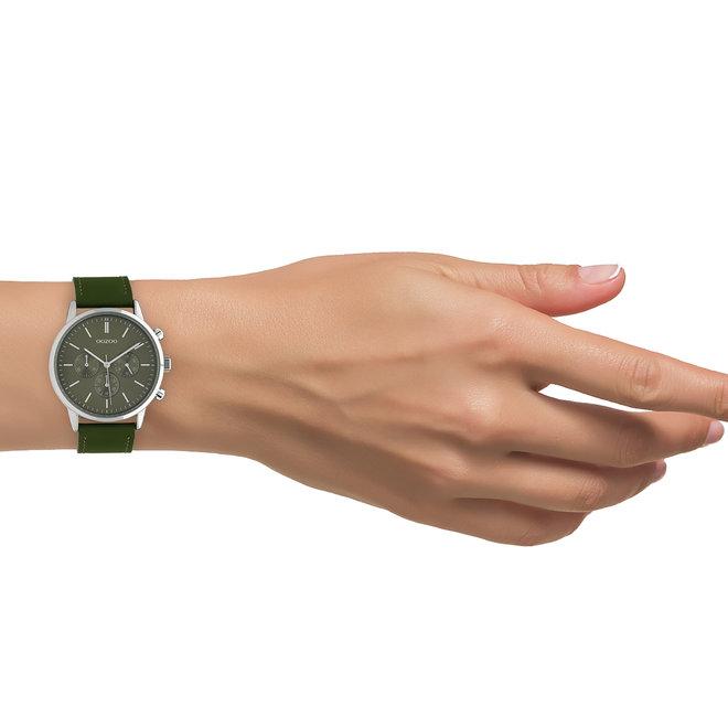 OOZOO Timepieces - unisex - leren band olijf met zilver horlogekast