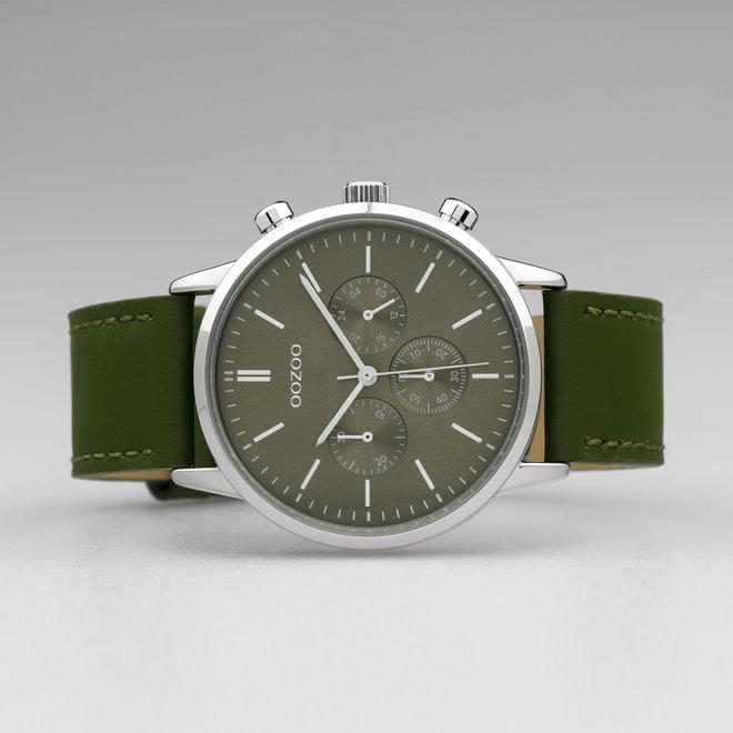 OOZOO Timepieces - unisexe - bracelet en cuir vert olive met argent horlogekast