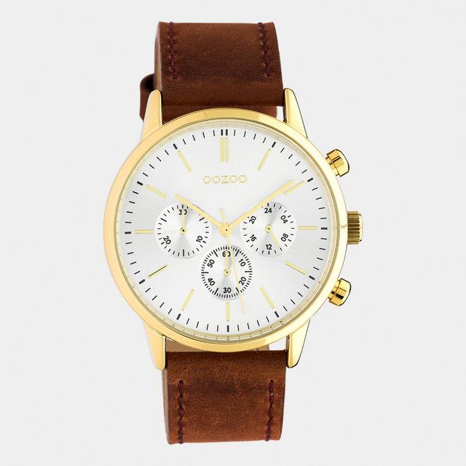 OOZOO Timepieces - unisex - leren band bruin / goud