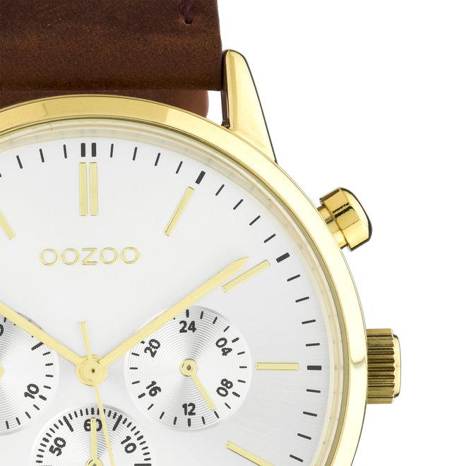 OOZOO Timepieces - unisex - leren band bruin met goud horlogekast