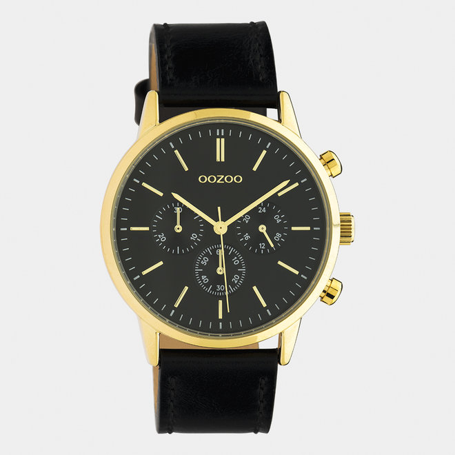 OOZOO Timepieces - unisex - leren band zwart / goud