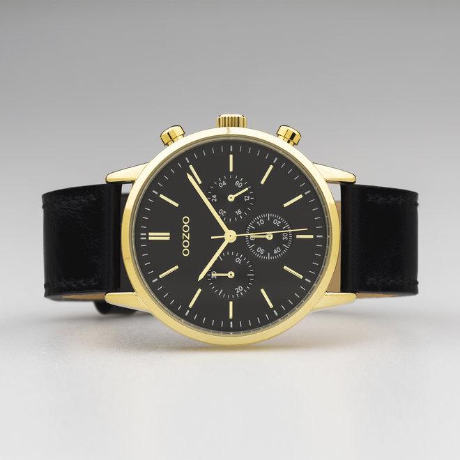 OOZOO Timepieces - unisexe - bracelet en cuir noir met or horlogekast