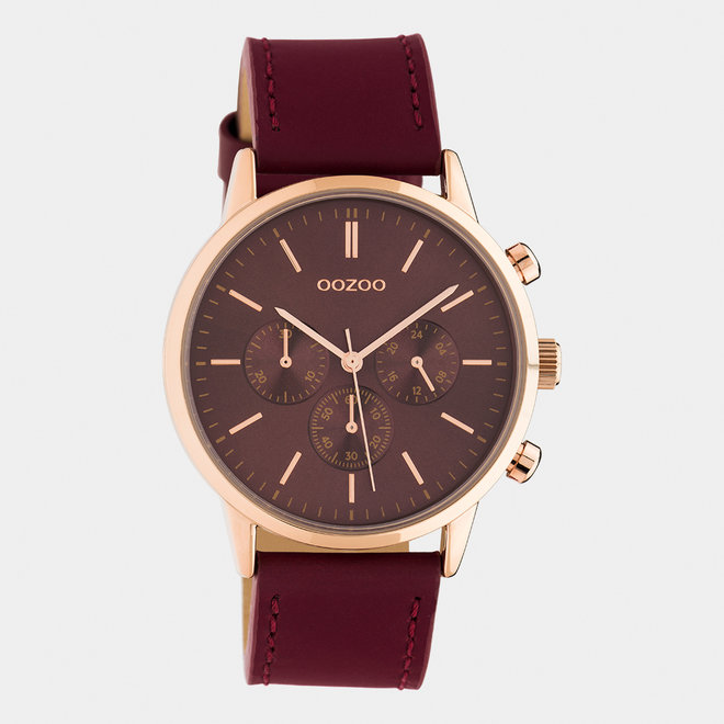 OOZOO Timepieces - unisex - leather strap biking red / rose gold