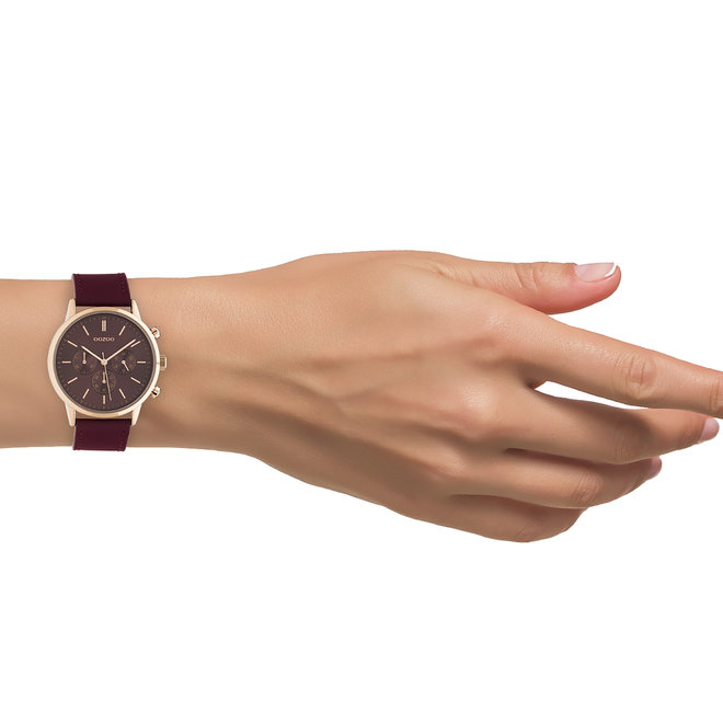 OOZOO Timepieces - unisex - leather strap biking red with rose gold watch case