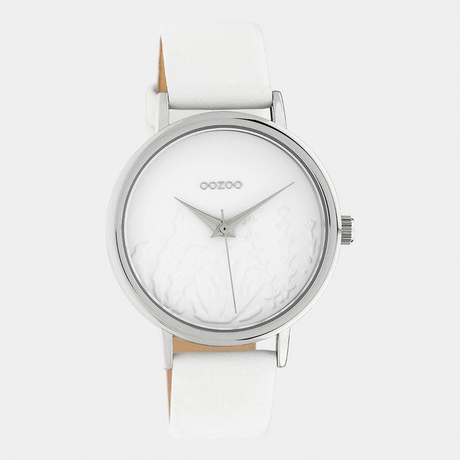 OOZOO Timepieces - dames - leren band wit met zilver horlogekast