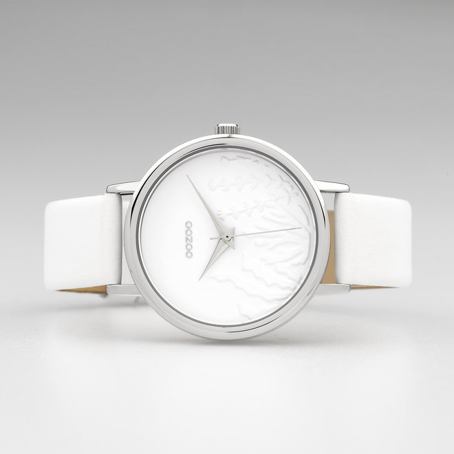 OOZOO Timepieces - ladies - leather strap white with silver watch case