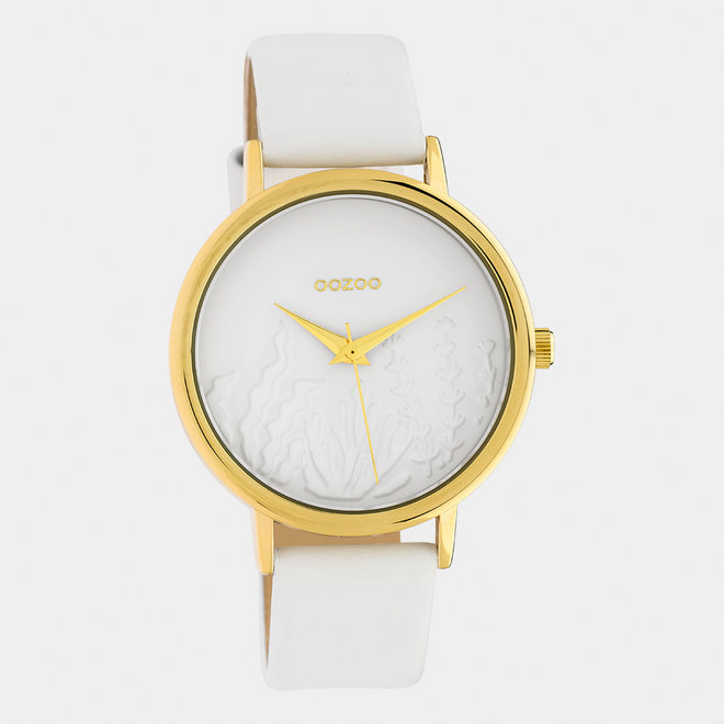 OOZOO Timepieces - dames - leren band wit / goud