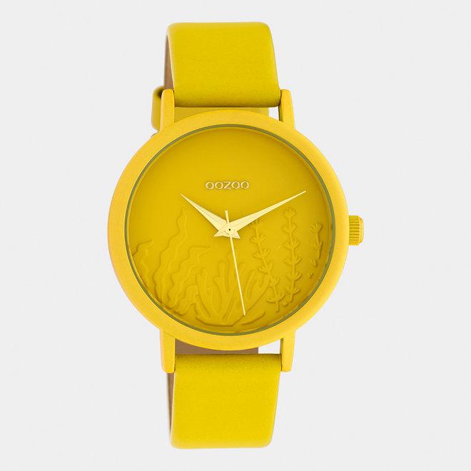 OOZOO Timepieces - dames - leren band mosterd met mosterd horlogekast