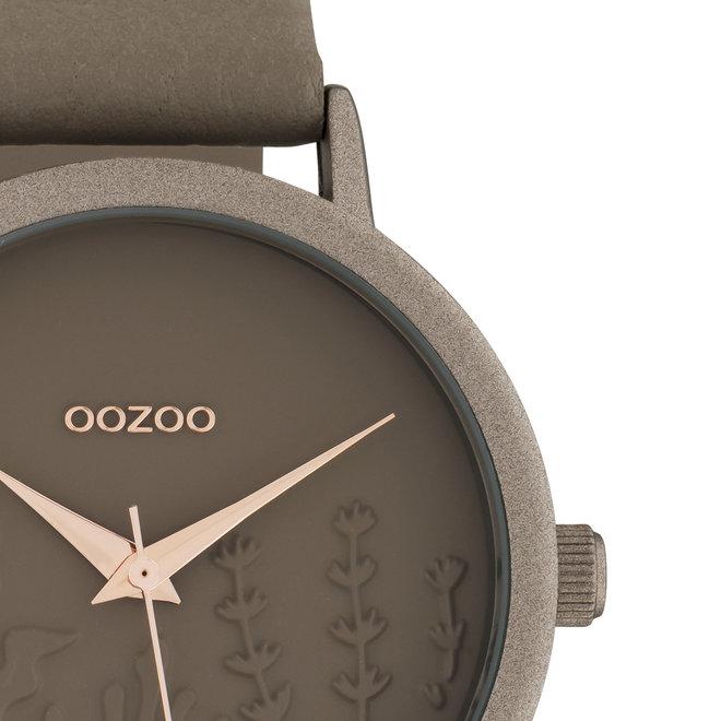 OOZOO Timepieces - femmes - bracelet en cuir taupe met taupe horlogekast