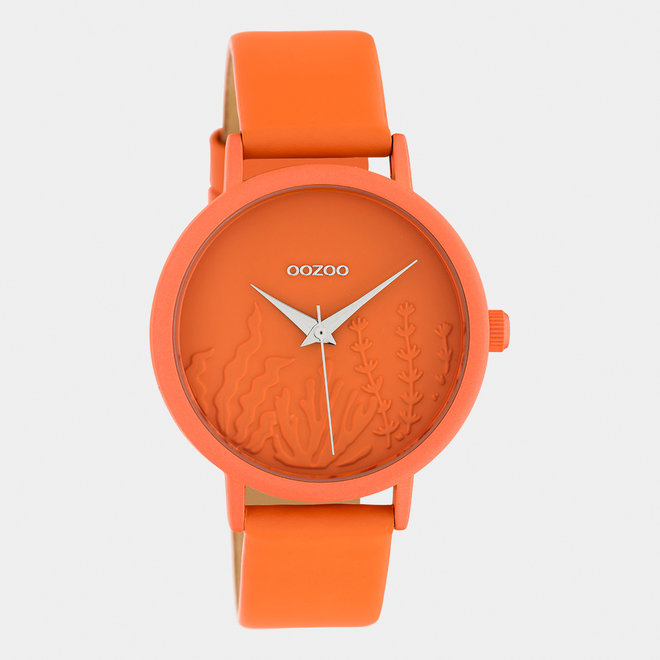 OOZOO Timepieces - dames - leren band dusty oranje / dusty oranje
