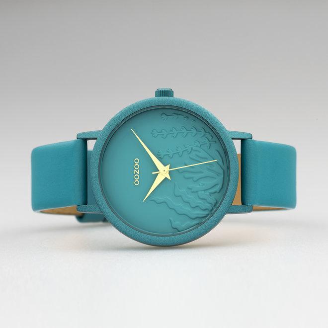 OOZOO Timepieces - femmes - bracelet en cuir viridian vert met viridian vert horlogekast