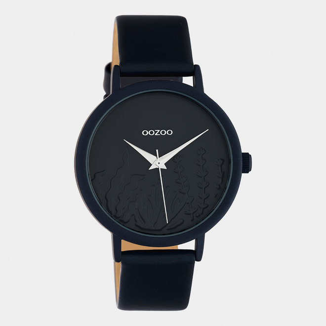 OOZOO Timepieces - dames - leren band donker blauw / donker blauw