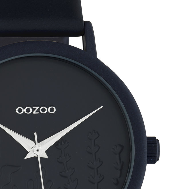 OOZOO Timepieces - ladies - leather strap dark blue with dark blue watch case