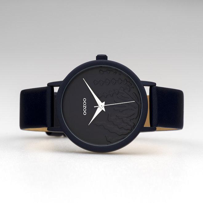 OOZOO Timepieces - femmes - bracelet en cuir bleu foncé met bleu foncé horlogekast