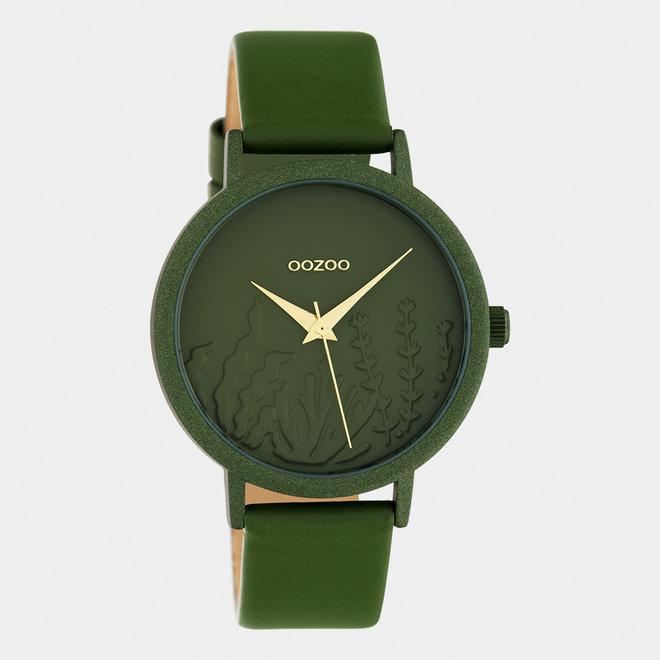 OOZOO Timepieces - femmes - bracelet en cuir vert olive met vert olive horlogekast