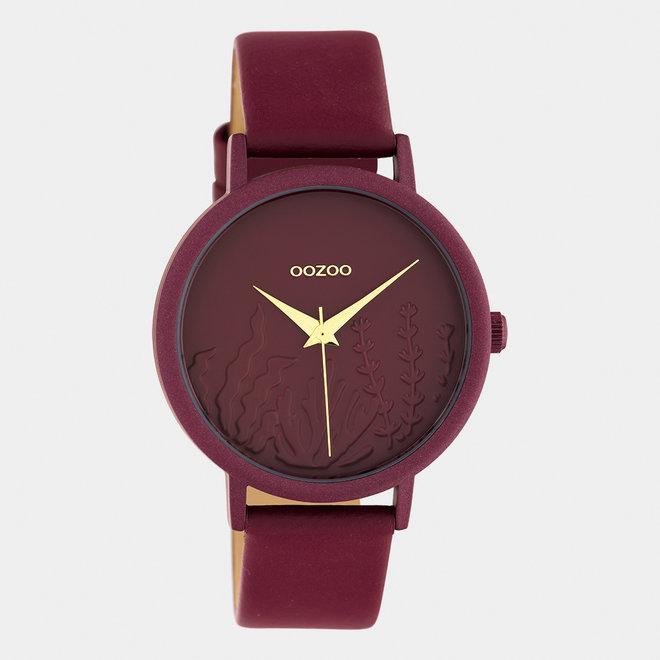 OOZOO Timepieces - femmes - bracelet en cuir rouge foncé / rouge