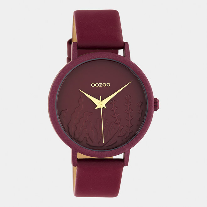 OOZOO Timepieces - ladies - leather strap biking red with biking red watch case
