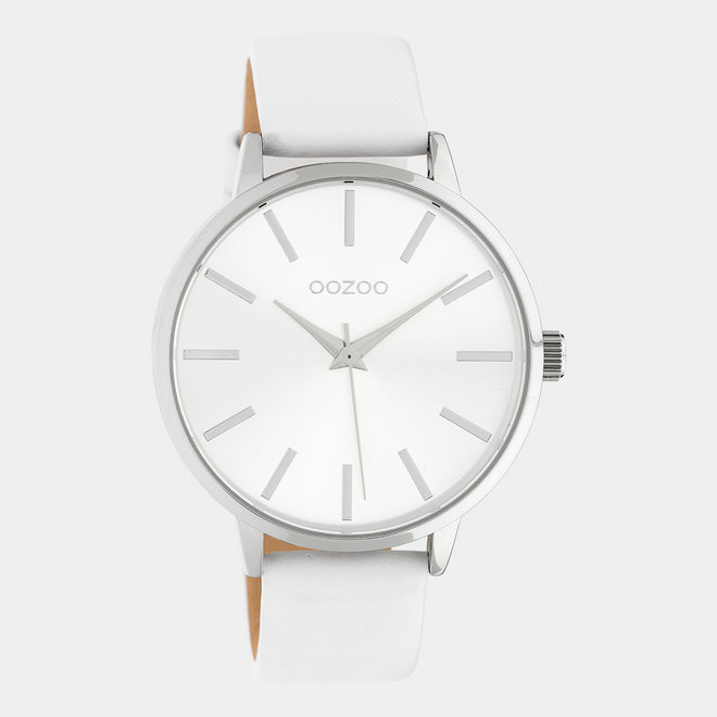 OOZOO Timepieces - dames - leren band wit / zilver