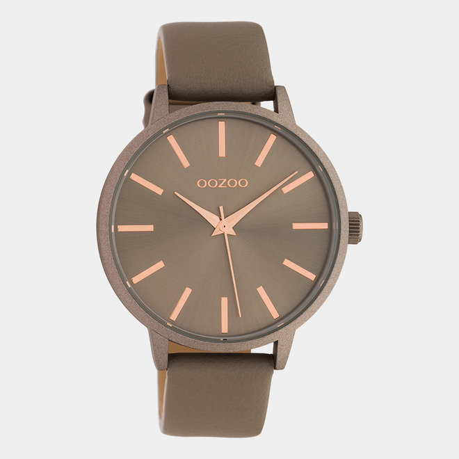 OOZOO Timepieces - dames - leren band taupe / taupe