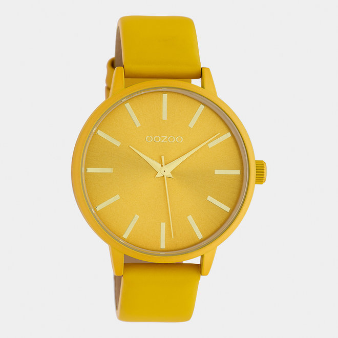 OOZOO Timepieces - dames - leren band mosterd / mosterd