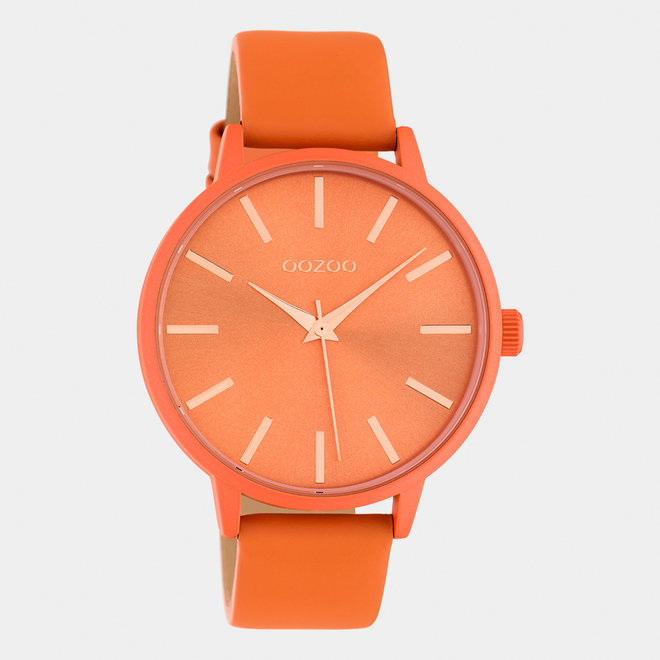 OOZOO Timepieces - dames - leren band dusty oranje / dusty oranje
