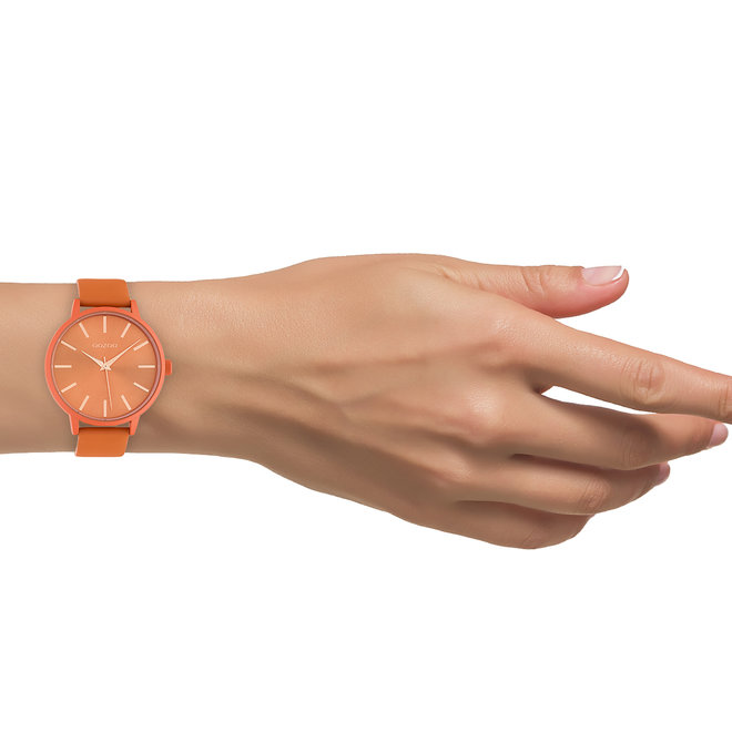 OOZOO Timepieces - dames - leren band dusty oranje met dusty oranje horlogekast